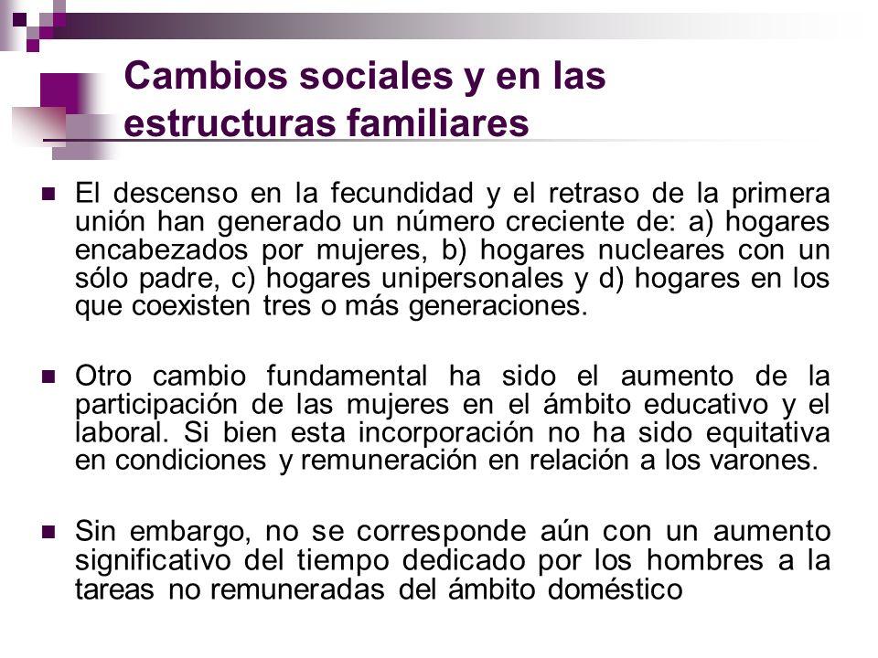 Cambios sociales y en las estructuras familiares El descenso en la fecundidad y el retraso de la primera unión han generado un número creciente de: a)
