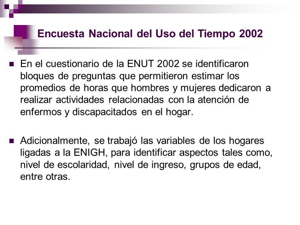 Encuesta Nacional del Uso del Tiempo 2002 En el cuestionario de la ENUT 2002 se identificaron bloques de preguntas que permitieron estimar los promedi