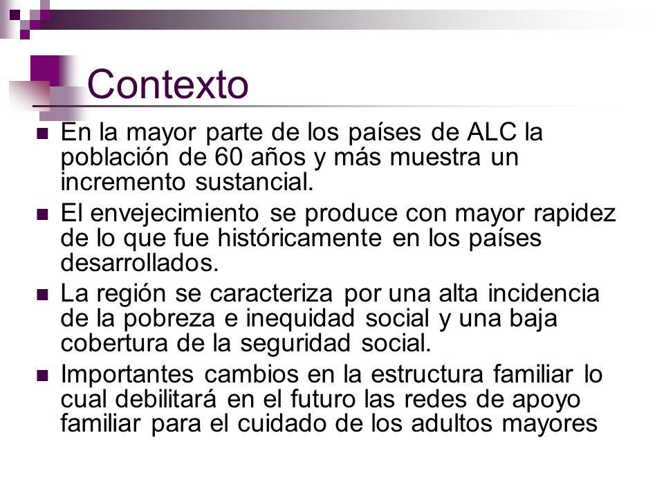 Contexto En la mayor parte de los países de ALC la población de 60 años y más muestra un incremento sustancial. El envejecimiento se produce con mayor
