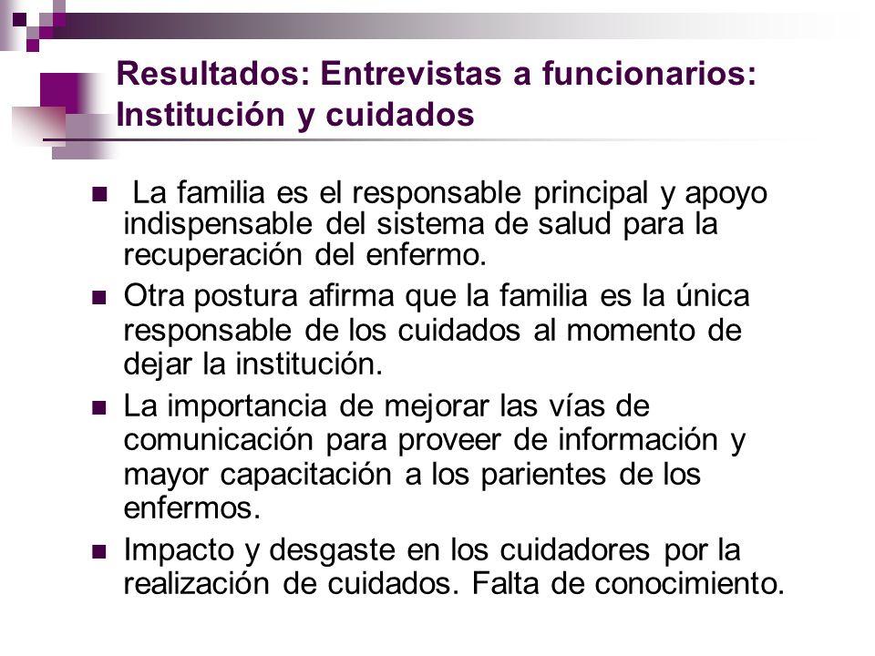 Resultados: Entrevistas a funcionarios: Institución y cuidados La familia es el responsable principal y apoyo indispensable del sistema de salud para