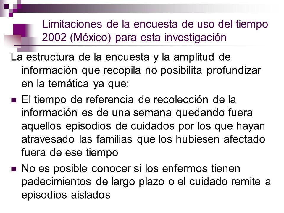 Limitaciones de la encuesta de uso del tiempo 2002 (México) para esta investigación La estructura de la encuesta y la amplitud de información que reco