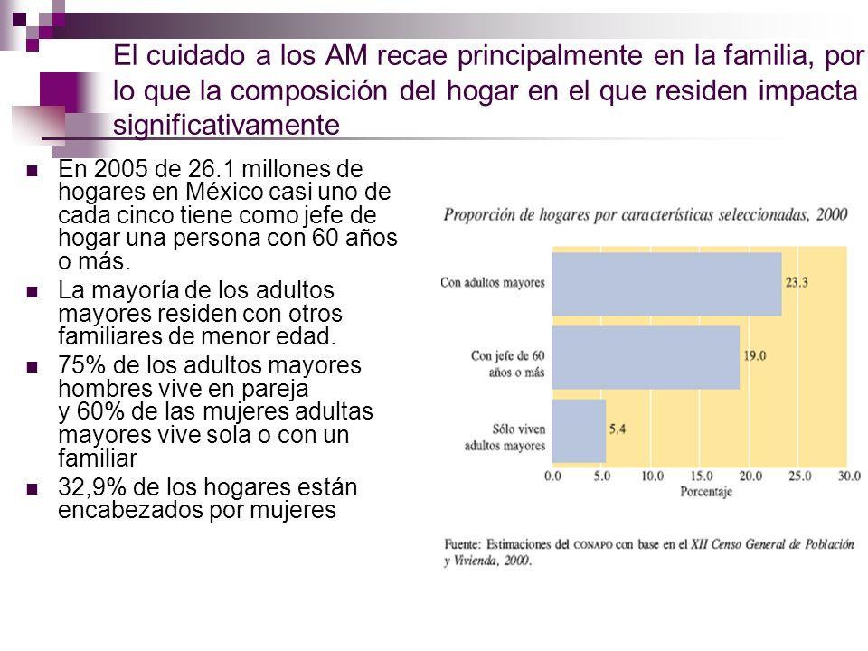 El cuidado a los AM recae principalmente en la familia, por lo que la composición del hogar en el que residen impacta significativamente En 2005 de 26