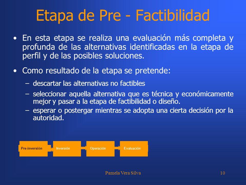 Pamela Vera Silva10 Etapa de Pre - Factibilidad En esta etapa se realiza una evaluación más completa y profunda de las alternativas identificadas en l