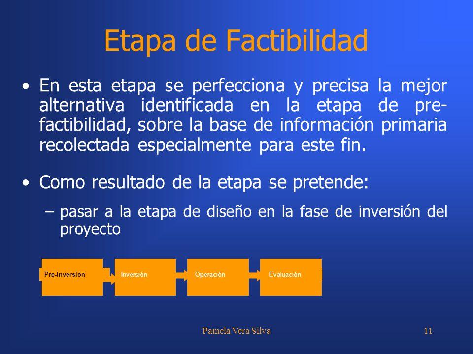 Pamela Vera Silva11 Etapa de Factibilidad En esta etapa se perfecciona y precisa la mejor alternativa identificada en la etapa de pre- factibilidad, s