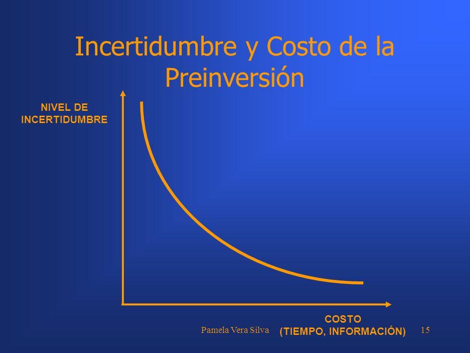 Pamela Vera Silva15 Incertidumbre y Costo de la Preinversión NIVEL DE INCERTIDUMBRE COSTO (TIEMPO, INFORMACIÓN)