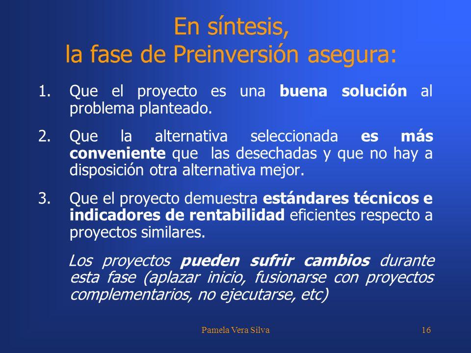 Pamela Vera Silva16 En síntesis, la fase de Preinversión asegura: 1.Que el proyecto es una buena solución al problema planteado. 2.Que la alternativa