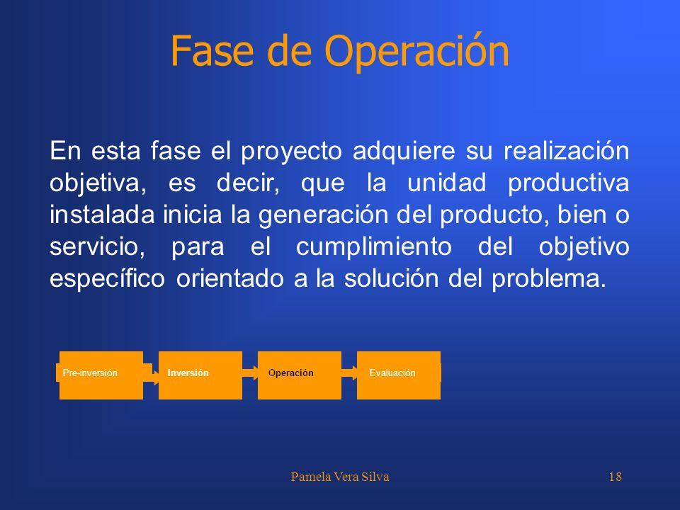 Pamela Vera Silva18 Fase de Operación En esta fase el proyecto adquiere su realización objetiva, es decir, que la unidad productiva instalada inicia l