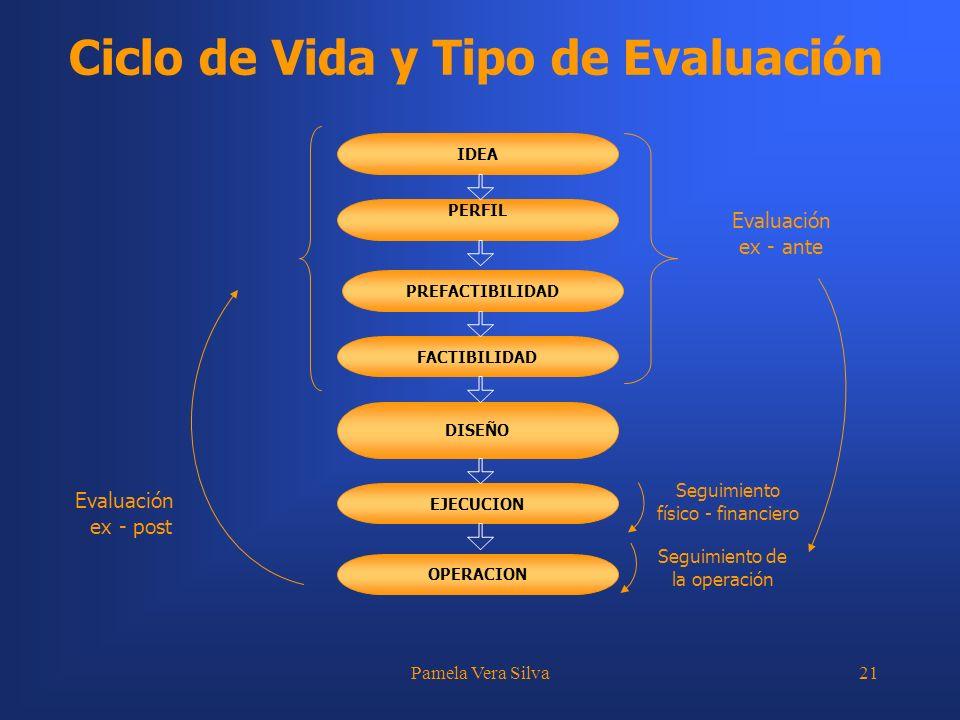 Pamela Vera Silva21 Ciclo de Vida y Tipo de Evaluación IDEA PERFIL PREFACTIBILIDAD FACTIBILIDAD DISEÑO EJECUCION OPERACION Evaluación ex - ante Seguim