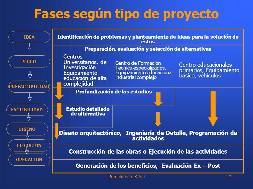 Pamela Vera Silva22 Fases según tipo de proyecto Identificación de problemas y planteamiento de ideas para la solución de éstos Preparación, evaluació