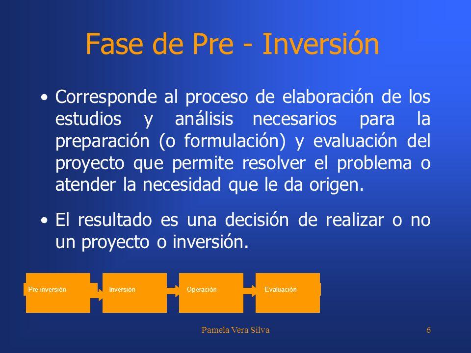 Pamela Vera Silva6 Fase de Pre - Inversión Corresponde al proceso de elaboración de los estudios y análisis necesarios para la preparación (o formulac