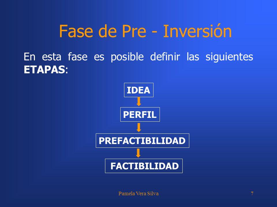 Pamela Vera Silva7 Fase de Pre - Inversión En esta fase es posible definir las siguientes ETAPAS: IDEA PREFACTIBILIDAD FACTIBILIDAD PERFIL