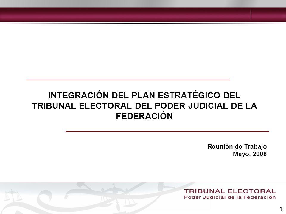 1 INTEGRACIÓN DEL PLAN ESTRATÉGICO DEL TRIBUNAL ELECTORAL DEL PODER JUDICIAL DE LA FEDERACIÓN Reunión de Trabajo Mayo, 2008