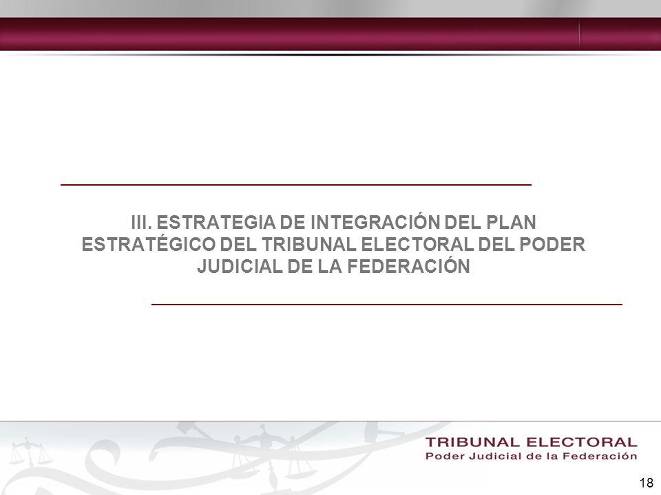 18 III. ESTRATEGIA DE INTEGRACIÓN DEL PLAN ESTRATÉGICO DEL TRIBUNAL ELECTORAL DEL PODER JUDICIAL DE LA FEDERACIÓN