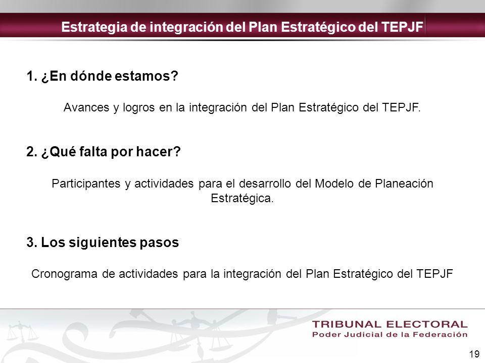19 1. ¿En dónde estamos? Avances y logros en la integración del Plan Estratégico del TEPJF. 2. ¿Qué falta por hacer? Participantes y actividades para