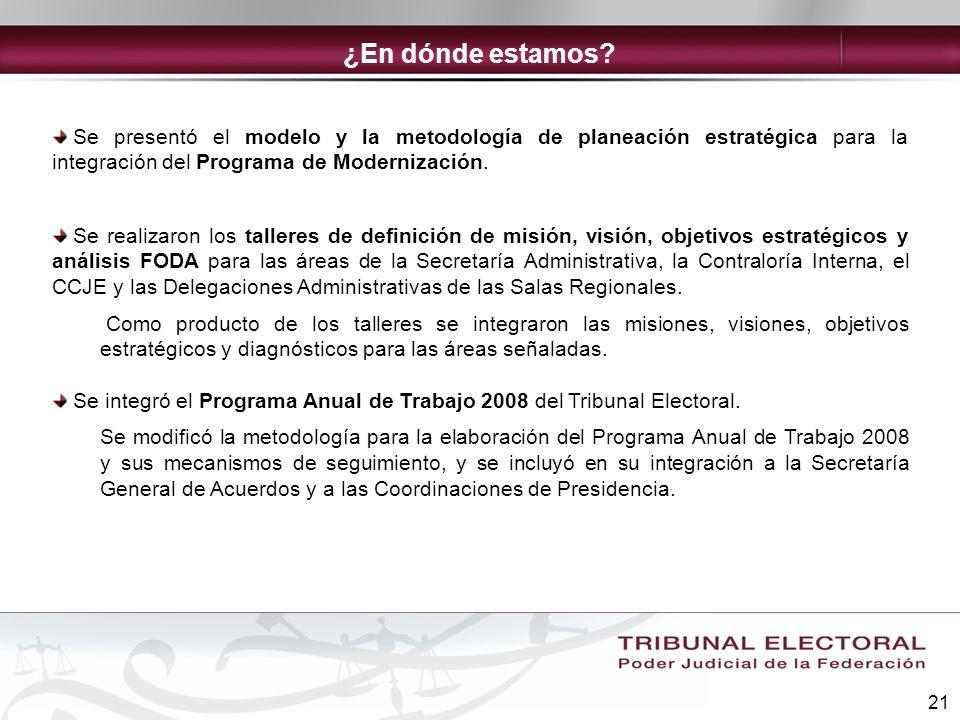 21 Se presentó el modelo y la metodología de planeación estratégica para la integración del Programa de Modernización. Se realizaron los talleres de d