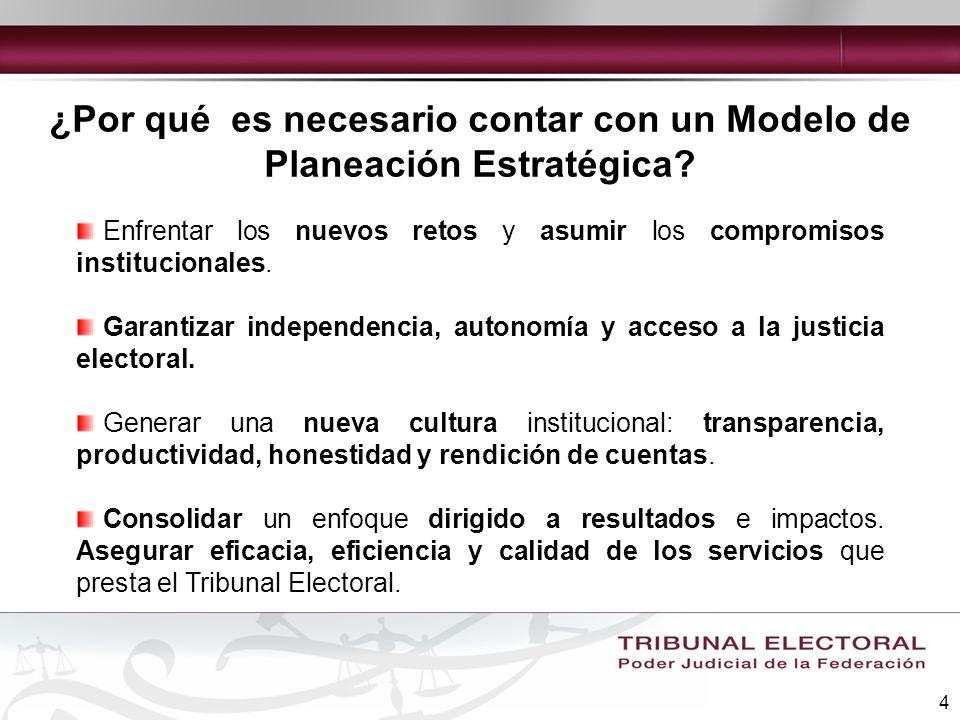 4 ¿Por qué es necesario contar con un Modelo de Planeación Estratégica? Enfrentar los nuevos retos y asumir los compromisos institucionales. Garantiza