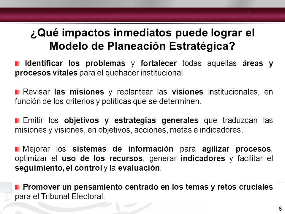 7 II. MODELO DE PLANEACIÓN ESTRATÉGICA DEL TRIBUNAL ELECTORAL DEL PODER JUDICIAL DE LA FEDERACIÓN