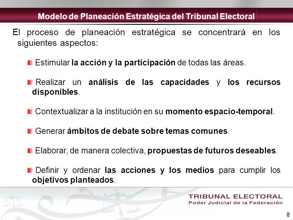 8 El proceso de planeación estratégica se concentrará en los siguientes aspectos: Estimular la acción y la participación de todas las áreas. Realizar