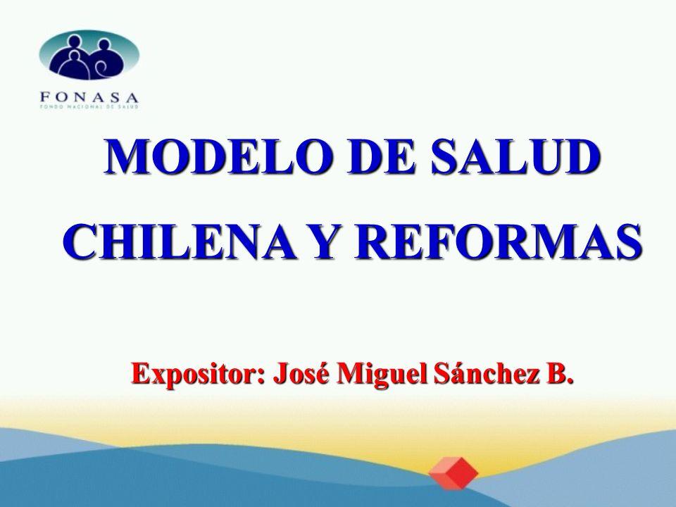 MODELO DE SALUD CHILENA Y REFORMAS Expositor: José Miguel Sánchez B.