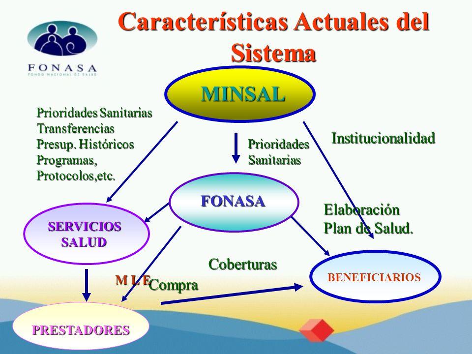 Características Actuales del Sistema MINSAL FONASA SERVICIOS SALUD SALUD BENEFICIARIOS Prioridades Sanitarias Transferencias Presup. Históricos Progra