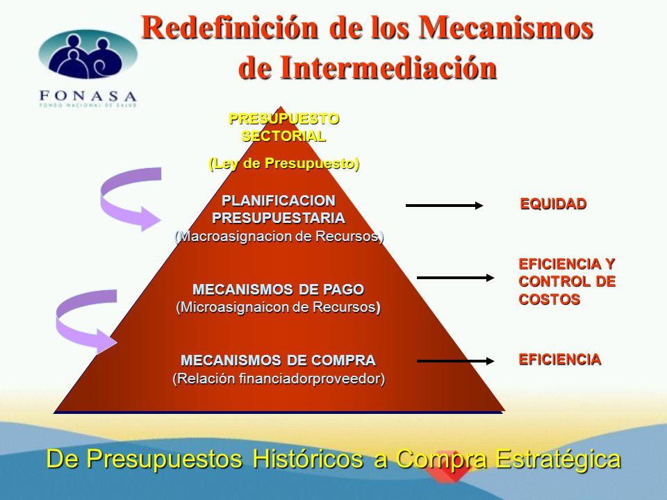 Redefinición de los Mecanismos de Intermediación PLANIFICACIONPRESUPUESTARIA (Macroasignacion de Recursos) MECANISMOS DE PAGO (Microasignaicon de Recu