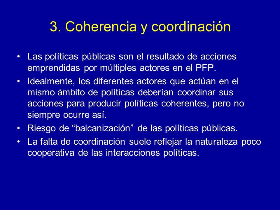 3. Coherencia y coordinación Las políticas públicas son el resultado de acciones emprendidas por múltiples actores en el PFP. Idealmente, los diferent