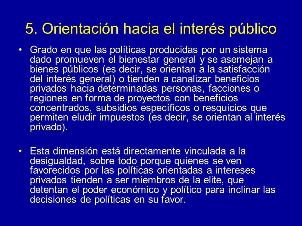 5. Orientación hacia el interés público Grado en que las políticas producidas por un sistema dado promueven el bienestar general y se asemejan a biene