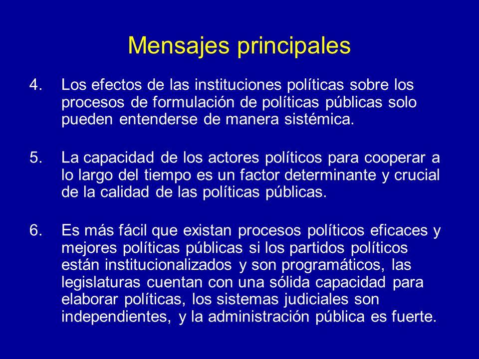 Mensajes principales 4.Los efectos de las instituciones políticas sobre los procesos de formulación de políticas públicas solo pueden entenderse de manera sistémica.