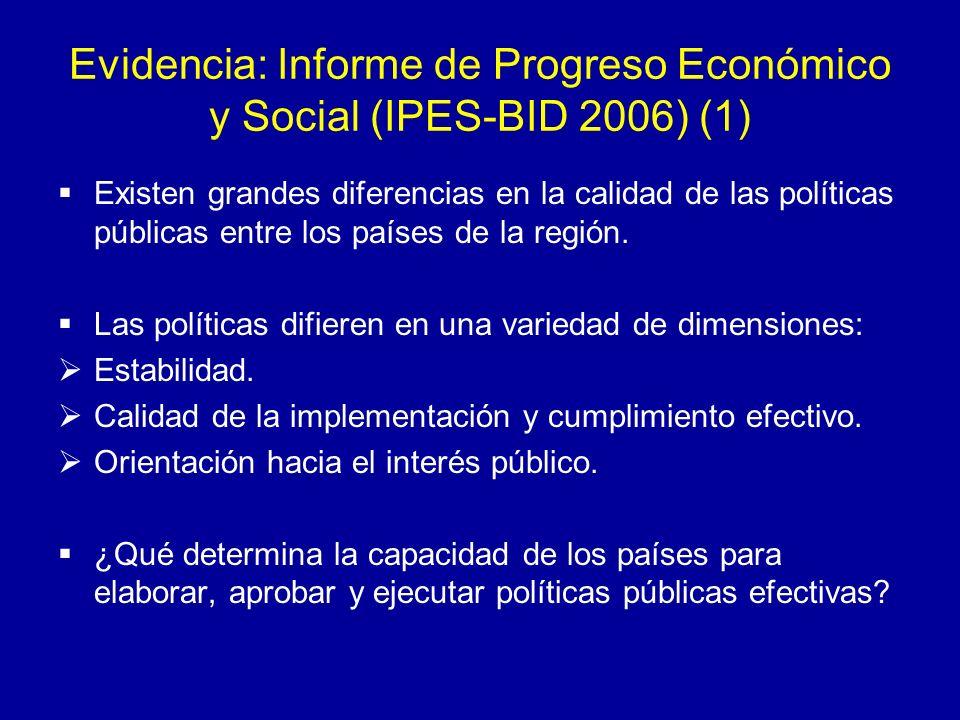 Evidencia: IPES-BID 2006 (2) En la formulación de políticas interviene una variedad de actores (políticos profesionales, técnicos, miembros de la sociedad civil) que interactúan en diversas arenas.