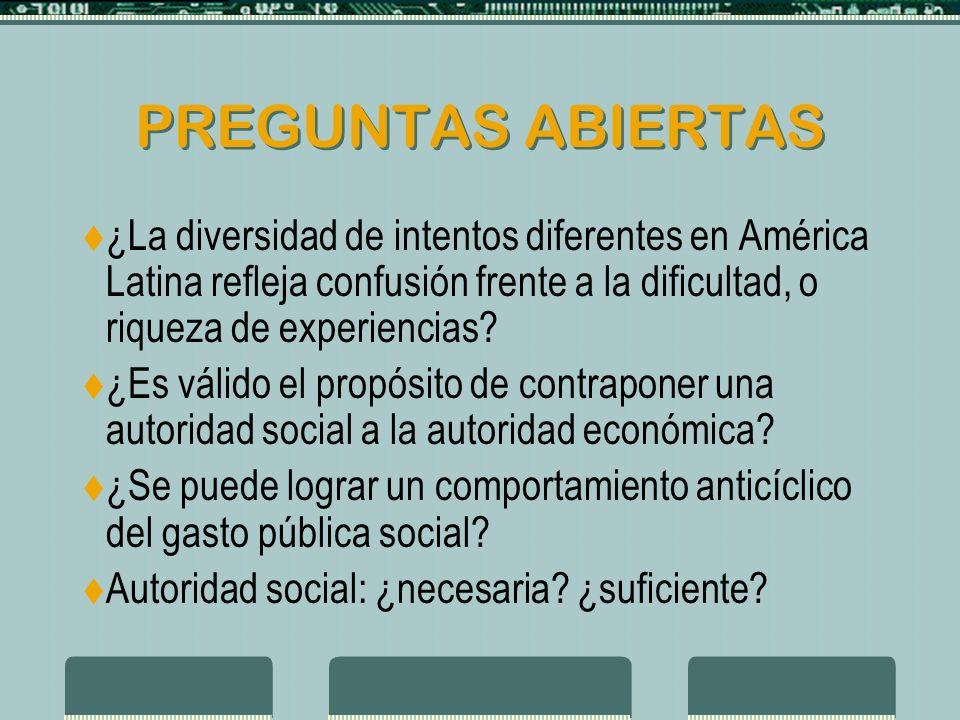 PREGUNTAS ABIERTAS ¿La diversidad de intentos diferentes en América Latina refleja confusión frente a la dificultad, o riqueza de experiencias.
