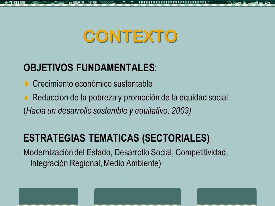 CONTEXTO OBJETIVOS FUNDAMENTALES : Crecimiento económico sustentable Reducción de la pobreza y promoción de la equidad social.