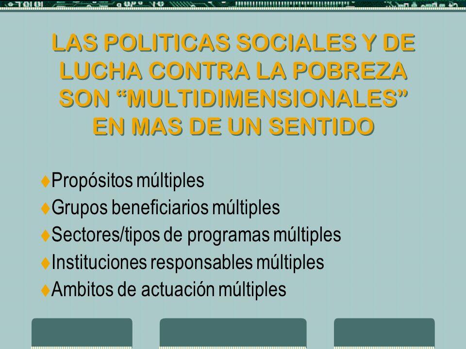 LAS POLITICAS SOCIALES Y DE LUCHA CONTRA LA POBREZA SON MULTIDIMENSIONALES EN MAS DE UN SENTIDO Propósitos múltiples Grupos beneficiarios múltiples Sectores/tipos de programas múltiples Instituciones responsables múltiples Ambitos de actuación múltiples