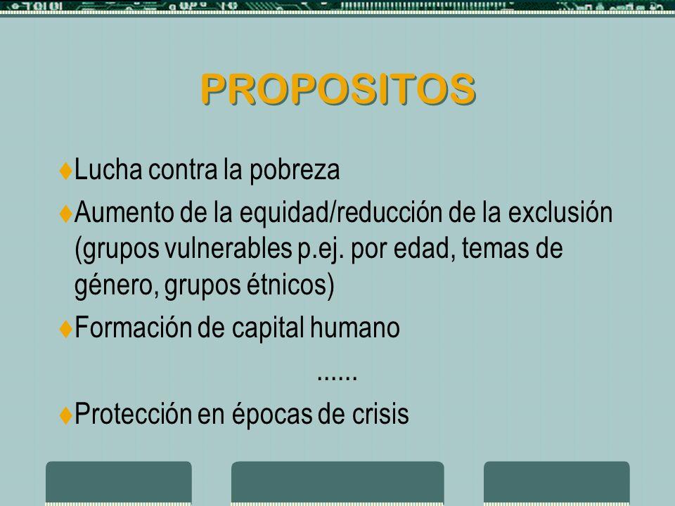 PROPOSITOS Lucha contra la pobreza Aumento de la equidad/reducción de la exclusión (grupos vulnerables p.ej.