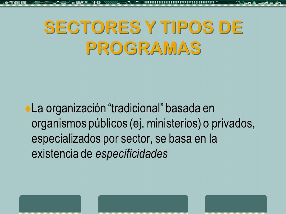ORGANIZACIONES RESPONSABLES Multiplicidad de organismos con responsabilidad sobre aspectos de la política social y su implementación.