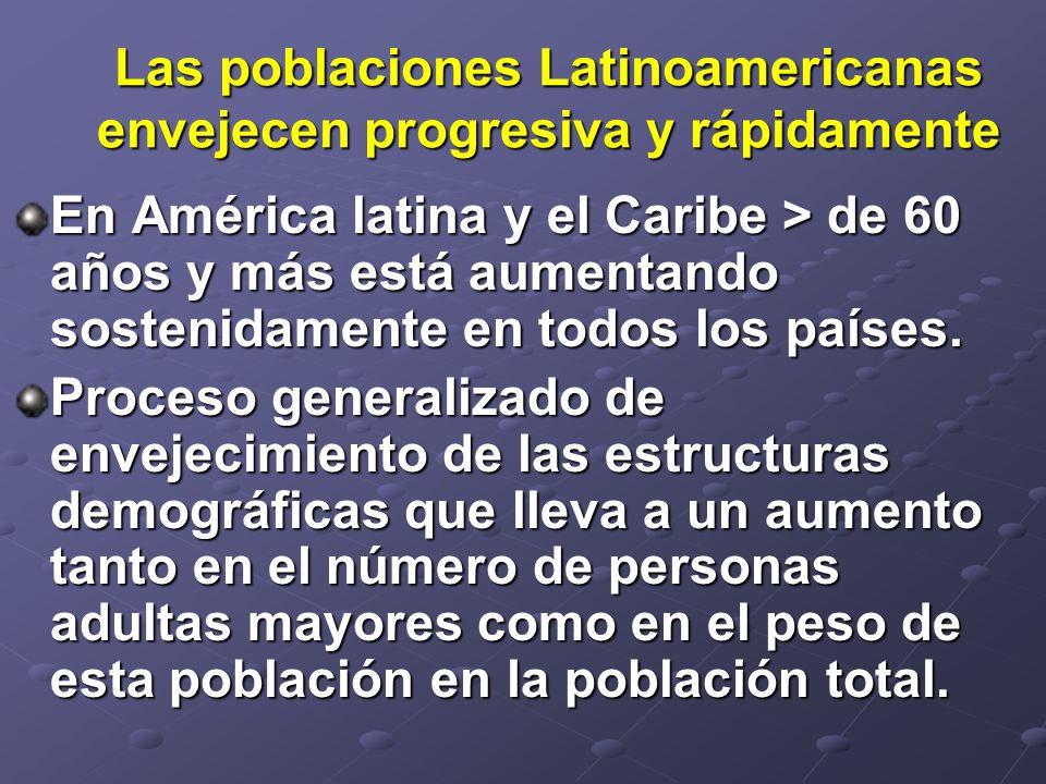 Las poblaciones Latinoamericanas envejecen progresiva y rápidamente En América latina y el Caribe > de 60 años y más está aumentando sostenidamente en