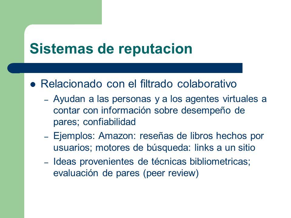 Sistemas de reputacion Relacionado con el filtrado colaborativo – Ayudan a las personas y a los agentes virtuales a contar con información sobre desem