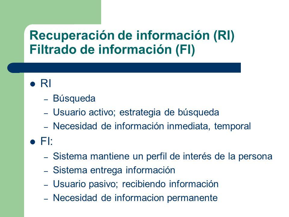 Recuperación de información (RI) Filtrado de información (FI) RI – Búsqueda – Usuario activo; estrategia de búsqueda – Necesidad de información inmedi