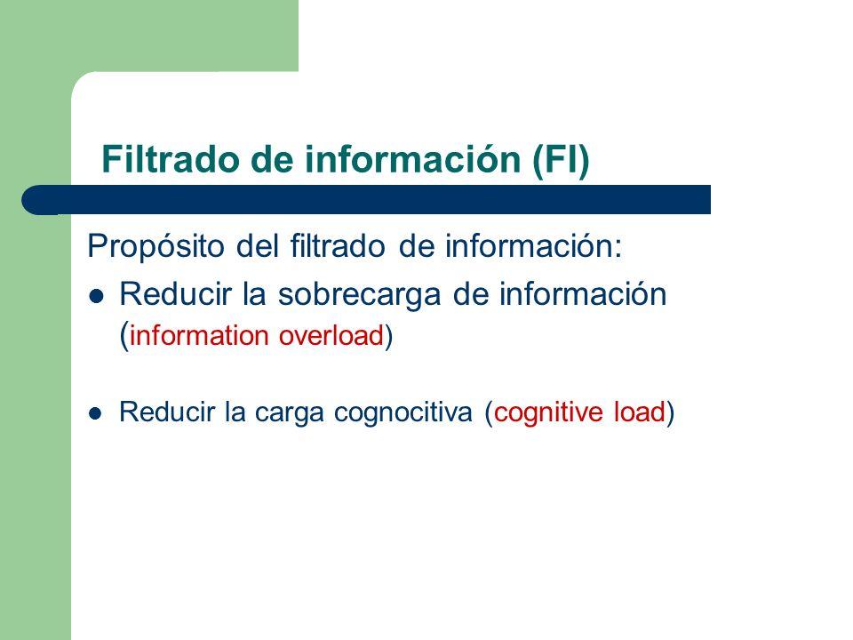 Propósito del filtrado de información: Reducir la sobrecarga de información ( information overload) Reducir la carga cognocitiva (cognitive load) Filt