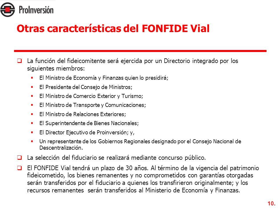 10. Otras características del FONFIDE Vial La función del fideicomitente será ejercida por un Directorio integrado por los siguientes miembros: El Min