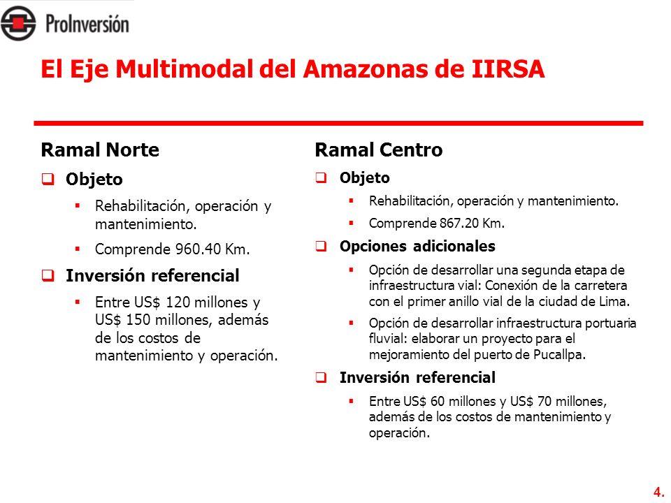 4. El Eje Multimodal del Amazonas de IIRSA Ramal Norte Objeto Rehabilitación, operación y mantenimiento. Comprende 960.40 Km. Inversión referencial En