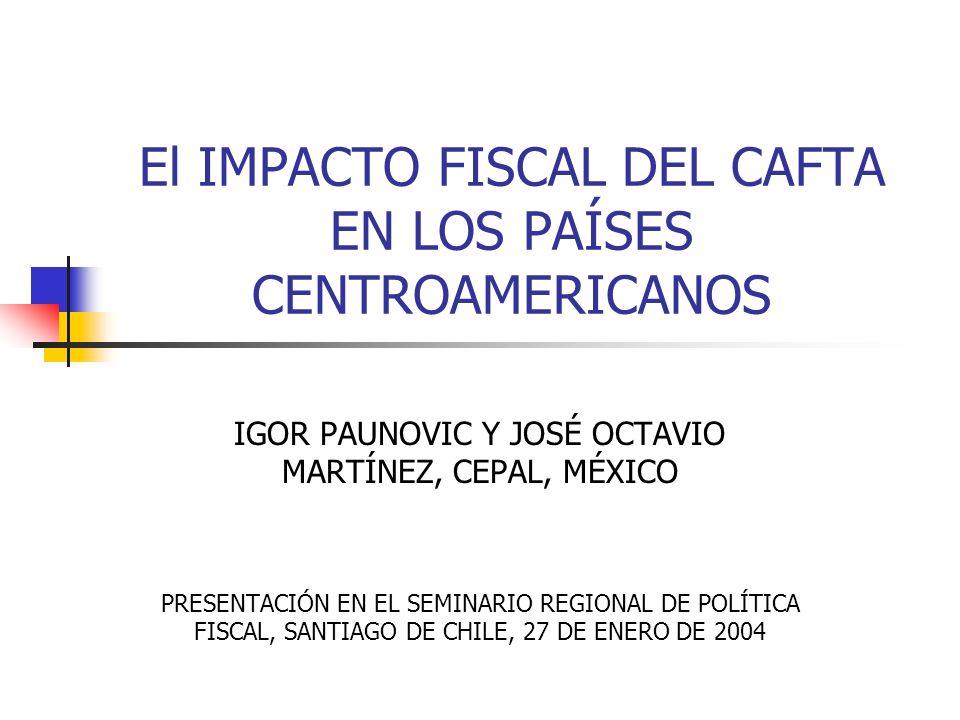 El IMPACTO FISCAL DEL CAFTA EN LOS PAÍSES CENTROAMERICANOS IGOR PAUNOVIC Y JOSÉ OCTAVIO MARTÍNEZ, CEPAL, MÉXICO PRESENTACIÓN EN EL SEMINARIO REGIONAL