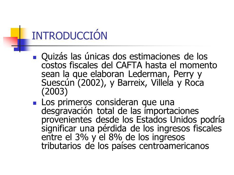 INTRODUCCIÓN Quizás las únicas dos estimaciones de los costos fiscales del CAFTA hasta el momento sean la que elaboran Lederman, Perry y Suescún (2002
