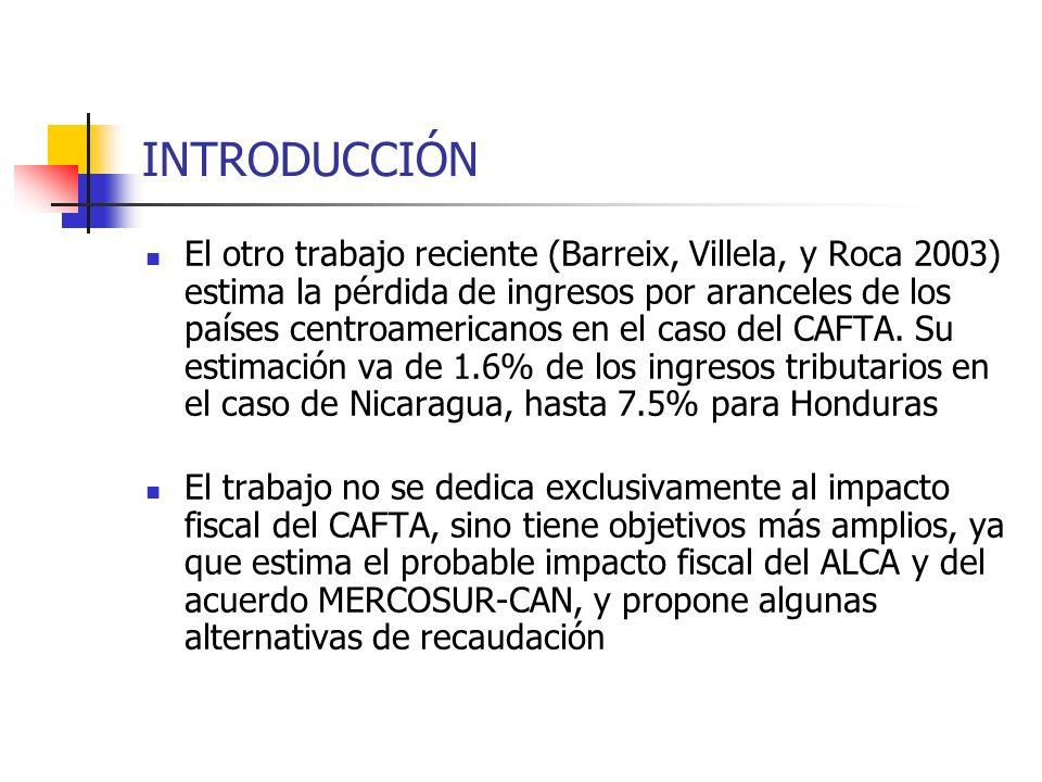 INTRODUCCIÓN El otro trabajo reciente (Barreix, Villela, y Roca 2003) estima la pérdida de ingresos por aranceles de los países centroamericanos en el