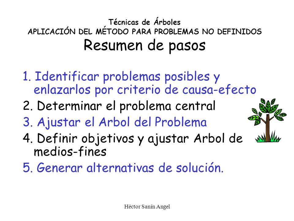 Héctor Sanín Angel Criterios para armar alternativas Integralidad similar (suficiencia de Propósito) Temporalidad (Urgencias, Desarrollos progresivos,