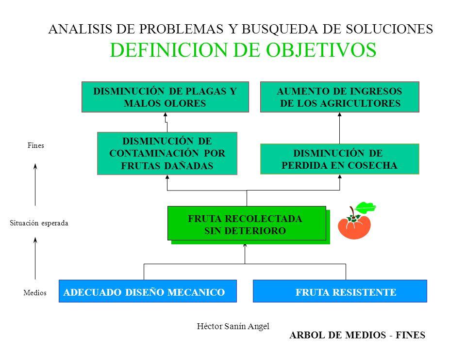 Héctor Sanín Angel ANALISIS DE PROBLEMAS Y BUSQUEDA DE SOLUCIONES DEFINICION DE OBJETIVOS DESCRIBIR LA SITUACION ESPERADA QUE SERA ALCANZADA MEDIANTE