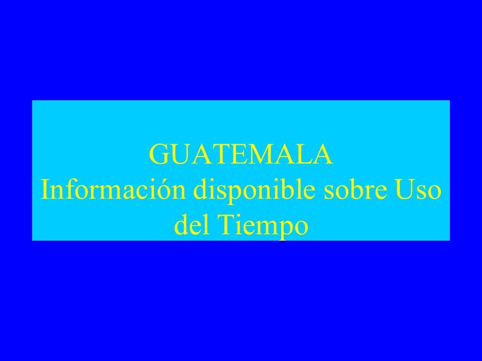 GUATEMALA Información disponible sobre Uso del Tiempo