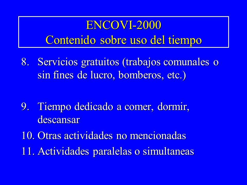 ENCOVI-2000 Contenido sobre uso del tiempo 8.Servicios gratuitos (trabajos comunales o sin fines de lucro, bomberos, etc.) 9.Tiempo dedicado a comer,