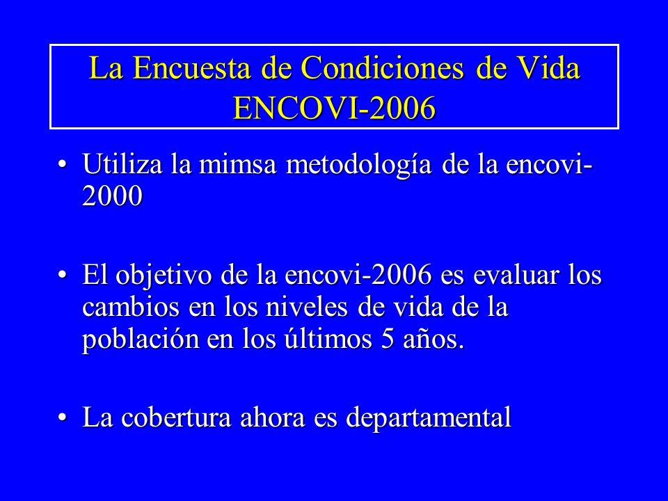 La Encuesta de Condiciones de Vida ENCOVI-2006 Utiliza la mimsa metodología de la encovi- 2000Utiliza la mimsa metodología de la encovi- 2000 El objet