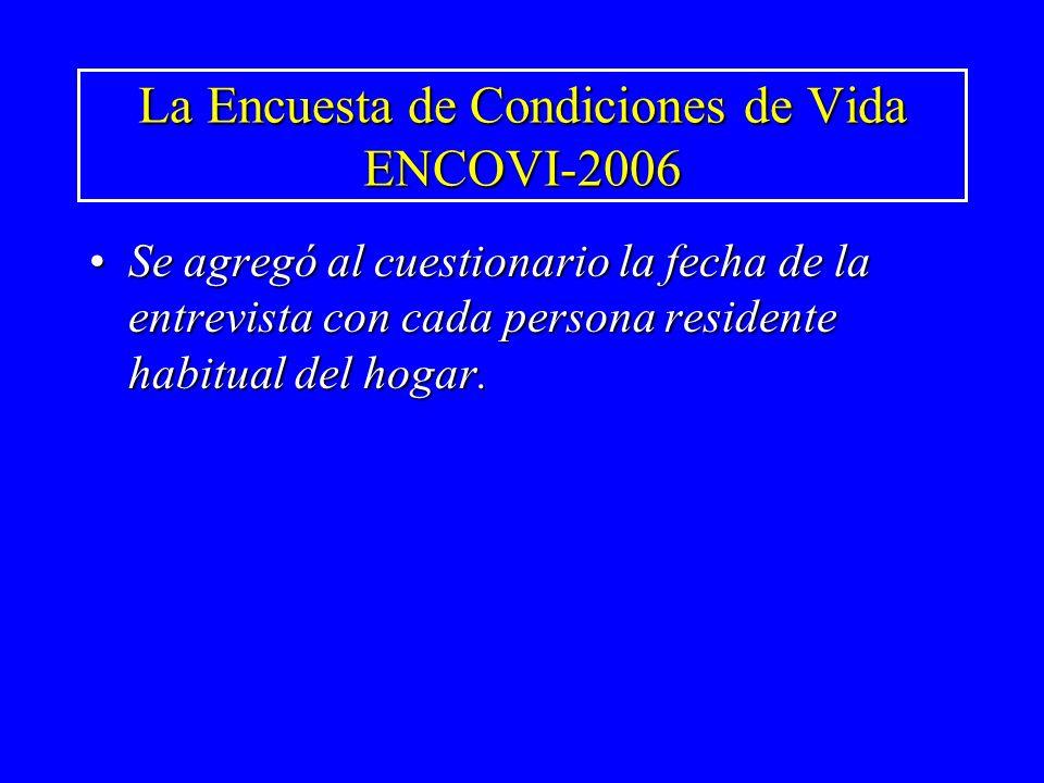 La Encuesta de Condiciones de Vida ENCOVI-2006 Se agregó al cuestionario la fecha de la entrevista con cada persona residente habitual del hogar.Se ag