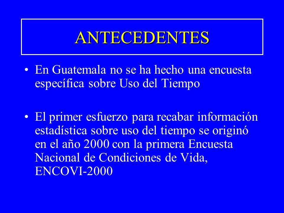 ANTECEDENTES En Guatemala no se ha hecho una encuesta específica sobre Uso del Tiempo El primer esfuerzo para recabar información estadística sobre us